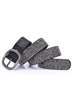 Rivet Pu Leather Belt WA0074 - Black