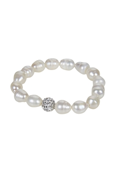 Crystal Fresh Water Pearl Bracelet B1909
