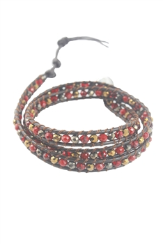 Crystal Beaded Multi Layer Leather Rope Bracelets B1917 - Red