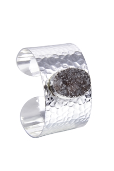 Chic Design Cuff Bangle Plated Metal Stone Bracelets B1924 - Silver