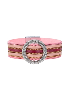 Fashion Style Rhinestone Magnetic Clasp Leather Bracelets B1930