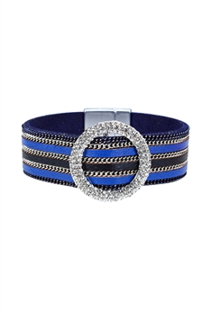 Fashion Style Rhinestone Magnetic Clasp Leather Bracelets B1930 - Blue
