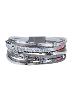 Fashion Treaty Magnetic Clasp Leather Wrap Bracelets B1934