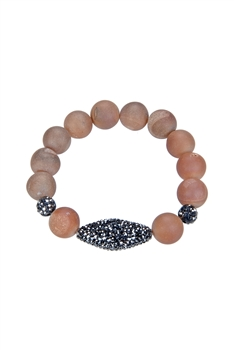 Latest Style Big Round Natural Stone Beads Stretch Bracelets B1938