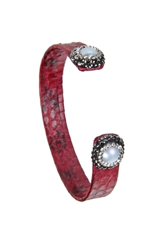 New Fashion Style Snake Leather Bracelets B1940 - Red
