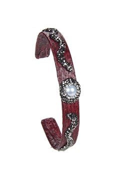 New Fashion Style Snake Leather Crystal Cuff Bracelets B1941