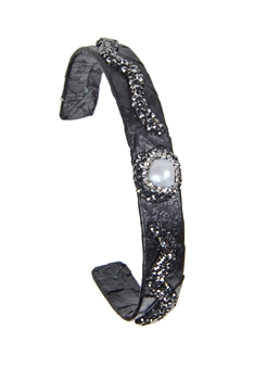 Fashion Snake Leather Crystal Cuff Bracelets B1941 - Black