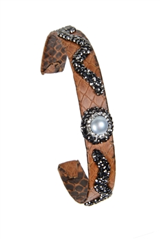 Fashion Snake Leather Crystal Cuff Bracelets B1941 - Brown