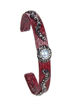 New Fashion Style Snake Leather Crystal Cuff Bracelets B1941 - Red