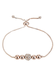Lucky Beads Metal Bracelets B1948 - Rose Gold