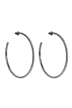 Crystal Accent Hoop Earrings E1640