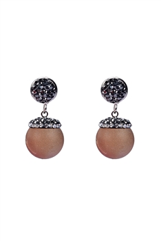 Natural Stone Earrings E2088 - Brown
