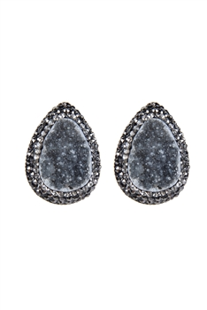 Crystal Natural Stone Stud Earrings E2102 - Black
