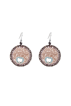 Elegant Women Champagne Beads Round Drop Earrings E2109