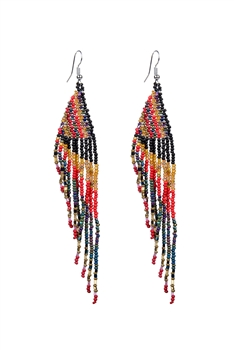 Long Tassel Crystal Bead Earrings E2112
