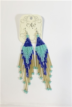 Long Tassel Crystal Bead Earrings E2113 - Blue