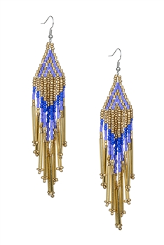 Long Tassel Crystal Bead Earrings E2113 - Gold