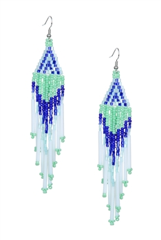 Long Tassel Crystal Bead Earrings E2113 - Green