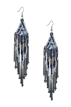 Long Tassel Crystal Bead Earrings E2113 - Grey