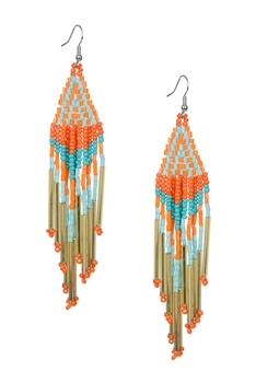 Long Tassel Crystal Bead Earrings E2113 - Orange