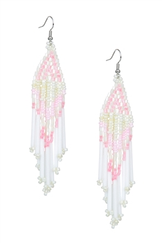 Long Tassel Crystal Bead Earrings E2113 - Pink