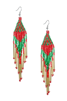 Long Tassel Crystal Bead Earrings E2113 - Red