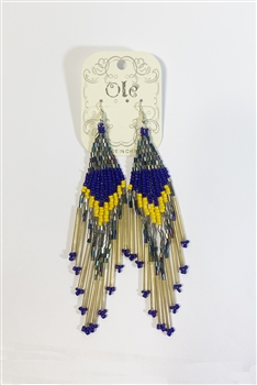 Long Tassel Crystal Bead Earrings E2113 - Yellow