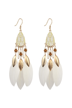 Bohemian Feather Dangle Earrings E2770 - White