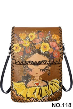 Floral Girl Printed Crossbody HB0580 - NO.118BR