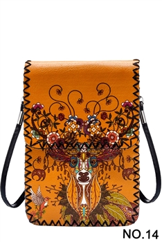 Floral Deer Printed Mobile Phone  Handbags HB0580 - NO.14 YW