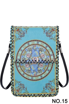 Blue Green Ethnic Printed Mobile Phone  Handbags HB0580 - NO.15 BL
