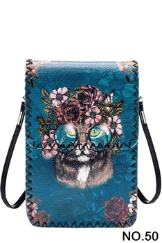 Floral Cat Head Printed Mobile Phone  Handbags HB0580 - NO.50 BL