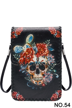 Floral Skull Head Printed Mobile Phone  Handbags HB0580 - NO.54