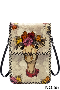 Floral Giraffe Printed Mobile Phone  Handbags HB0580 - NO.55