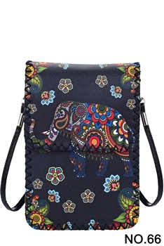 Women Ethnic Printed Mobile Phone  Handbags HB0580 - NO.66 BK