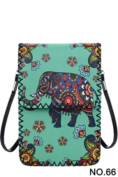 Floral Elephant Printed Crossbody HB0580 - NO.66 GR