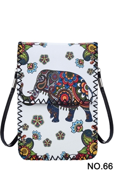Floral Elephant Printed Crossbody HB0580 - NO.66 WH