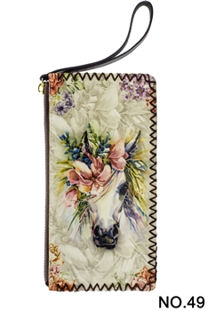 Floral Horse Head Printed Makeup Clutch Handbags HB0581 - NO.49