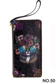 Floral Cat Head Printed Makeup Clutch Handbags HB0581 - NO.50 BK