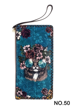 Floral Cat Head Printed Makeup Clutch Handbags HB0581 - NO.50 BL