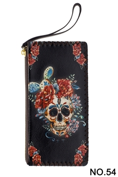Floral Skull Head Printed Makeup Clutch Handbags HB0581 - NO.54