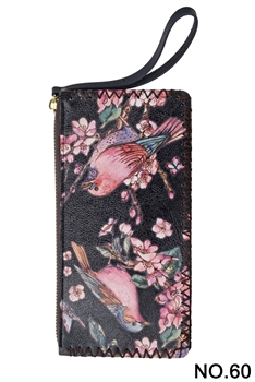 Two Birds Printed Makeup Clutch Handbags HB0581 - NO.60 BK