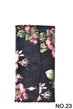 Flower Ethnic Pattern Leatherette Wallet HB0582 - NO.23 BK