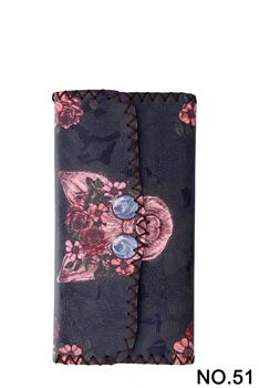 Women Ethnic Pattern Leatherette Wallet HB0582 - NO.51 BK