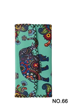 Elephant Floral Pattern Leatherette Wallet HB0582 - NO.66 GR