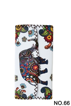 Elephant Floral Pattern Leatherette Wallet HB0582 - NO.66 WH