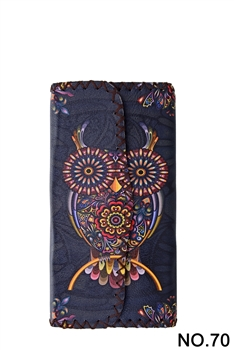 Owl Floral Pattern Leatherette Wallet HB0582 - NO.70