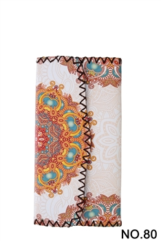 Women Ethnic Pattern Leatherette Wallet HB0582 - NO.80WH