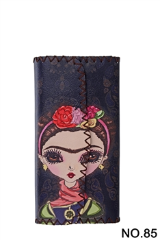Women Ethnic Pattern Leatherette Wallet HB0582 - NO.85BK