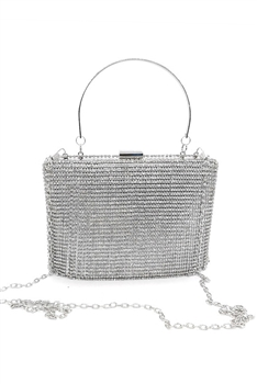 Rhinestone Square Evening Bags HB0945 - Silver